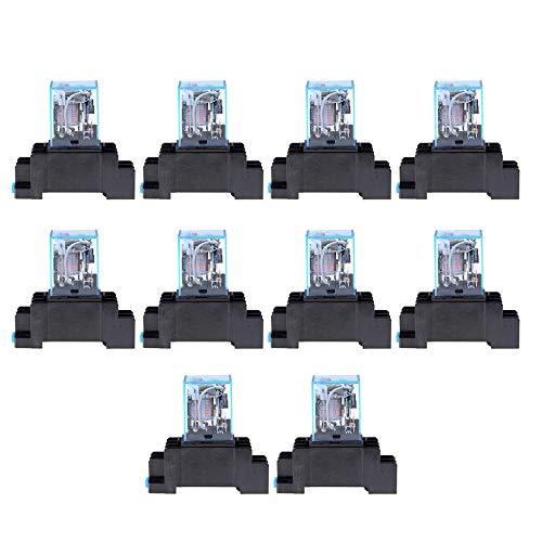 Matthew00Felix AC 220V 10PCS Coil Power Relay LY2NJ DPDT 8 Pin PTF08A JQX-13F Socket Base -
