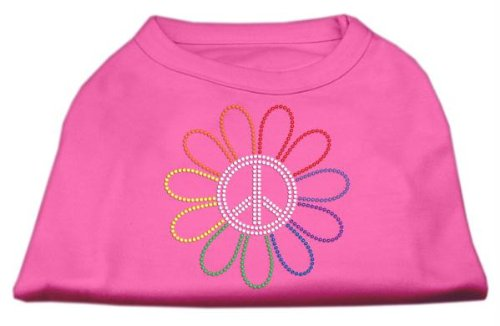 Mirage Strass Rainbow Flower Peace Sign Dog Shirt -