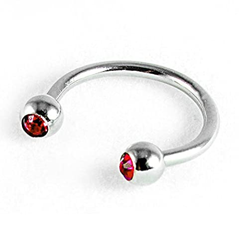 16g 316L Surgical Stainless Steel Horseshoe Curved Barbell Stud Earring Body Jewellery - Unisex (Red)