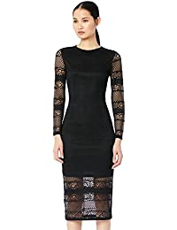 TRUTH & FABLE Women's Midi Lace Bodycon Dress