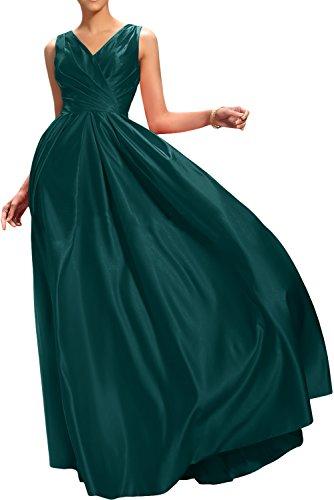Gorgeous Bride Klassisch A-Linie V-Ausschnitte Satin Abendkleider Lang Festkleider Ballkleider Blau-Gruen