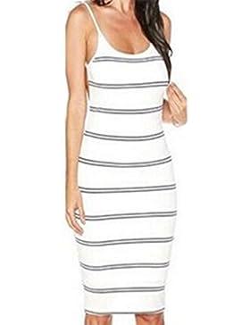 Mujer Vestido de Verano Moda Rayas Lápiz Vestidos de Partido Fiesta Coctel Beachwear Faldas U-Cuello Sin Respaldo...