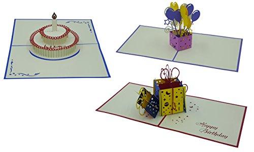 3D Geburtstagskarten - 3 Stück (Motive: Torte & Geschenk & Luftballons) - Pop-Up-Karten - handgefertigt - inclusive Umschlag und Schutzhülle - Gruß-Karte, Glückwunsch-Karte, Geschenk-Karte