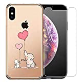 Laixin iPhone XS 2018 Hülle,iPhone X 2017 Handyhülle Transparent Silikon Case Cover Durchsichtig Antikratz Schutzhülle + Free [Gehärtetes Glas Displayschutzfolie], Elefant und Kaninchen