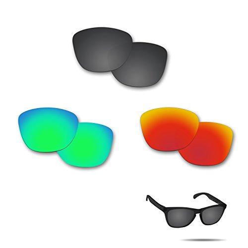 fiskr anti-saltwater Polarisierte Ersatz Gläser für Oakley Frogskins-3Paar Pack, Stealth Black & Fire Red & Emerald Green
