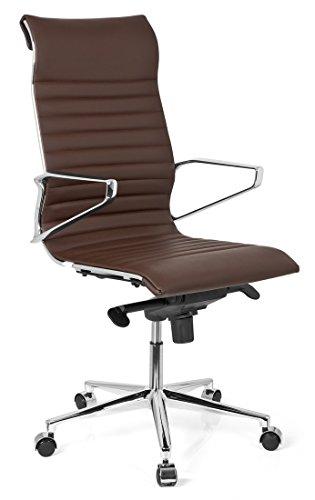hjh OFFICE 720023 Bürostuhl Chefsessel PARIBA I Echt-Leder Braun Ergonomisch Schreibtisch-Stuhl Drehstuhl Armlehne Hohe Rückenlehne -