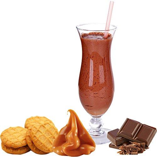 Schoko Karamell Keks Geschmack Proteinpulver Vegan mit 90% reinem Protein Eiweiß L-Carnitin angereichert für Proteinshakes Eiweißshakes Aspartamfrei (Schoko Karamell Keks, 1kg)