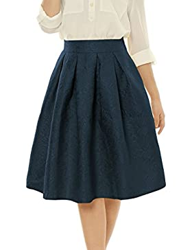 Allegra K Mujer Falda a Media Pierna Cintura Alta de Jacquard de Flores Azul Marino XL