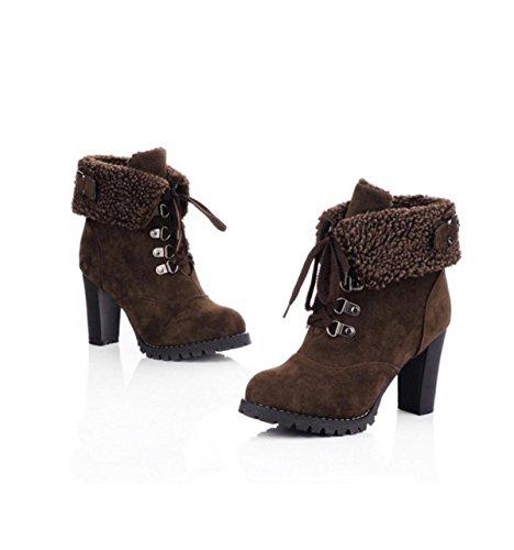 GRRONG Stivali Da Moda Femminile A Moda Brown
