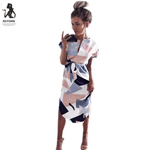 Kleid Damen,Binggong Frauen Mode Quadratisches Muster Kurzarm Partei Abend V-Ausschnitt Langes Kleid...