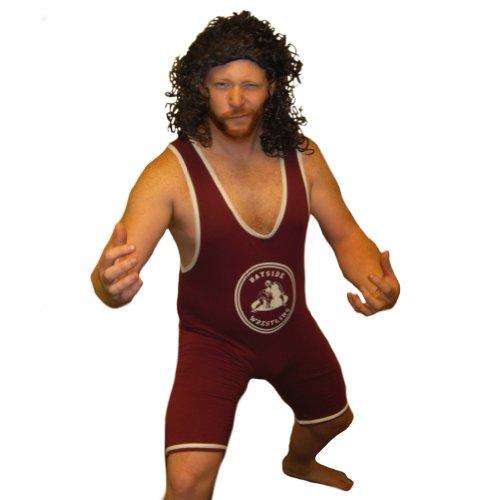 AC Slater Bayside Wrestling Singlet SAVED BY THE BELL Wrestler Kostüm Tiger Fancy Kleid, rot (Bell Bayside Tigers)