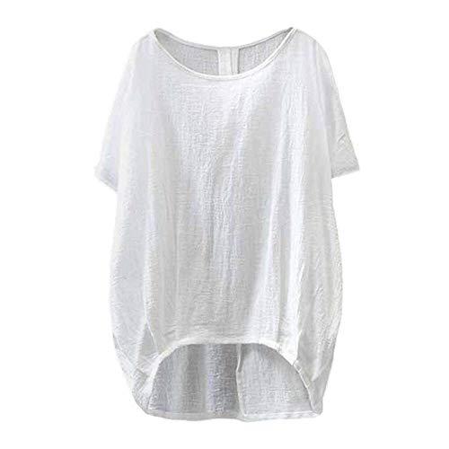 YEBIRAL Sommer Neu Damen Große Größen Leinen Einfarbig mit Rundhals Kurzarm T-Shirt Lose Tops Oberteile Bluse (EU-48/CN-4XL, T-Weiß)