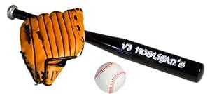 Batte de baseball en aluminium NOIR 62cm Ball Set + gant + chauve-souris