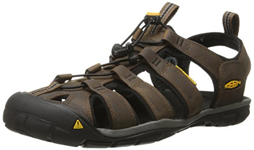 Keen Clearwater CNX Leather, Sandali da Arrampicata Uomo, Marrone Dark Earth/Black, 42 EU