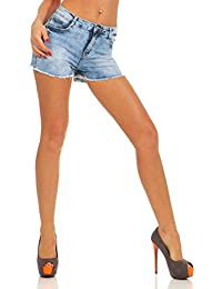11523 Fashion4Young Damen Jeans Hotpants Denim Shorts kurze Hose Hot Pants  Fransensaum Slimline Slim-Fit ec1225898a