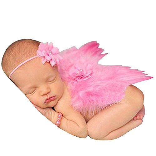 Neugeborene Fotografie Props Baby Jungen Mädchen Feder Engel Flügel mit Blumen Headbands Kostüm Sets