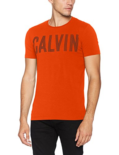 Calvin klein tyrus slimfit cn tee, t-shirt uomo, rosso (rebel red), small (taglia produttore:s)