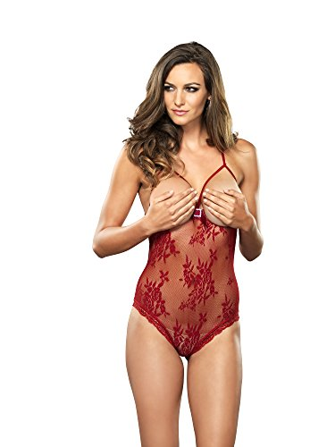 Leg Avenue 124 – Lace Teddy With Open Cups, Size One Size, Wine