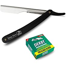 Kit de rasage traditionnel comprenant 100 lames de rasoir Derby professionnelles à simple tranchant et un rasoir droit Shaving Factory!