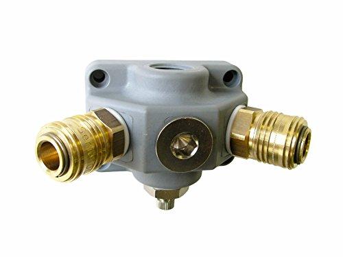 KDT Druckluftverteiler EVV 12 G-21, 2-fach+ Druckluft Wanddose Kunststoff Kupplung NW 7,2 Stopfen Kondensatablass, G 1/2