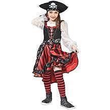 Seeräuberin Peppina Piratin Kostüm für Kinder - Tolles Piraten Seeräuber Kostüm für Mädchen zu Karneval und Mottoparty