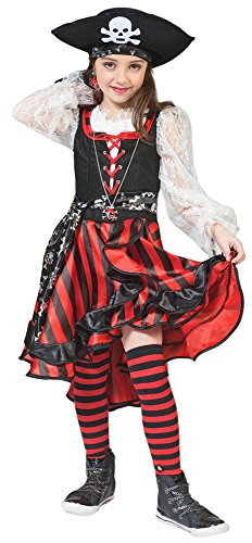Seeräuberin Peppina Piratin Kostüm für Kinder Gr. 116 - Tolles Piraten Seeräuber Kostüm für Mädchen zu Karneval und Mottoparty