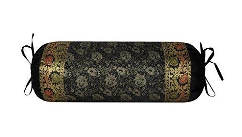 Lalhaveli Rajasthani handgemachte dekorative Design Seide Stoff Runde Nackenrolle Kissenbezug 76 x 38 cm (Seide Dekorative Nackenrolle)