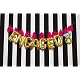 "Festiko ""Engaged"" Letter Foil Balloon Gold For Bachelor's,Wedding,Bachelorette,Hen Party,Bridal Shower"