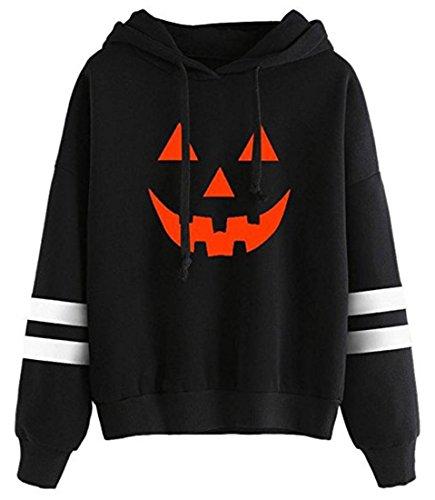 SIMYJOY Damen Halloween Kürbis Kostüm Hoodie Sweatshirt Pullover