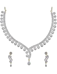 Zeneme Gold Plated American Diamond Necklace Set / Jewellery Set With Earrings For Women / Girls