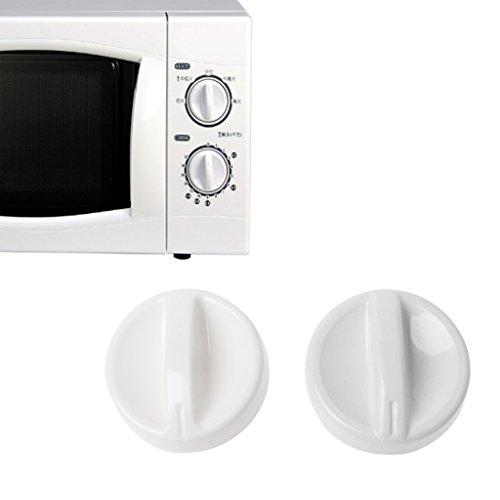 Weiß Timer Knob (Cuigu 2 Stück Universal-Mikrowellen-Knob, Kunststoff-Dreh-Timer Knob Schalter Controler, Für Medien/LG/Haier/Panasonic/Samsung)