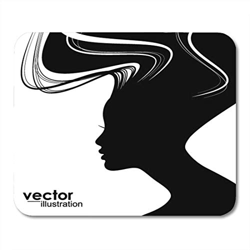 Deglogse Gaming-Mauspad-Matte, Profile Black Salon Woman Face Silhouette with Wavy Hair Beauty Glamour Mouse Pad -
