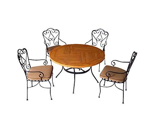 Salon de jardin 4 chaises + 1 table, ensemble de jardin avec 4 chaises en métal, 1 table ronde Ø122 cm en métal et plateau en CCV (composite ciment-verre), coussins inclus