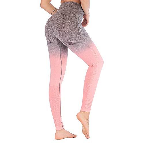 PFMY.DG Frauen-Gamaschen-Gradient Nahtlose Gym Power Stretch mit hohen Taille und Yoga Pants Lauftraining Leggings (grau, rosa, grün, lila),Pink,L