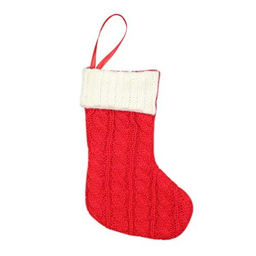 Amosfun weihnachtsstrumpf traditionelle Wolle gestrickte süßigkeitstüte socken baumschmuck urlaubsparty Wand tür Kamin dekor rot -
