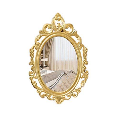 YangD Badezimmerspiegel, Wand-Ankleidespiegel, Vintage Oval geschnitzten Rahmen, elegant verzierten Home Schlafzimmer Eitelkeit Antik dekorative Spiegel (Farbe : Gold) -