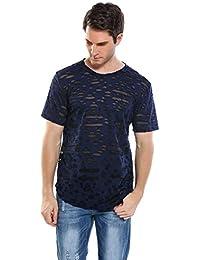 66308ae9900a Herren T-Shirt Tops Gerippt Destroyed Zerrissen Mesh Regular Fit Shirt  Schwarz Marine Rot