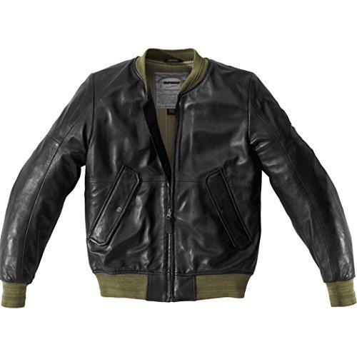 P182-494 46 - Spidi Super Leather Motorcycle Jacket 46 Black Green (UK 36)