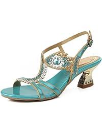 HYLM Mujer Sandalias Nuevo Diamante Hermoso Talones Para Participar En La Boda Banquete Vestido Zapatos, blue...