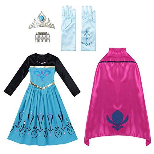 Iiniim Vestido Princesa Azul Niña Capa Diadema Guantes