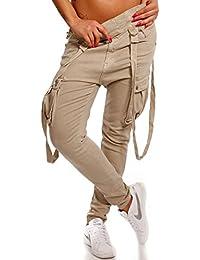 Damen Baggy Jeans Girlfriend mit Hosenträger