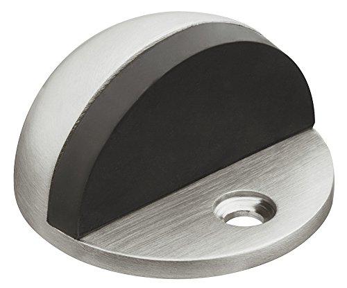 Gedotec Design Boden-Türpuffer Edelstahl matt Türstopper mit Zapfen - H8039 | Gummipuffer 5 mm | Höhe: 25,5 mm | Stopper rund zum Schrauben | 1 Stück - Türanschlag-Puffer silber für Boden-Montage