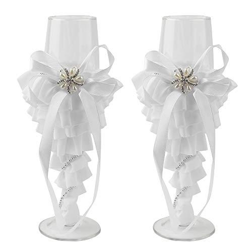 2 STÜCKE Wein Champagner Flöten Glas Toasten Becher Set für Hochzeit # Spitzenkleid MEHRWEG VERPACKUNG socialme-eu