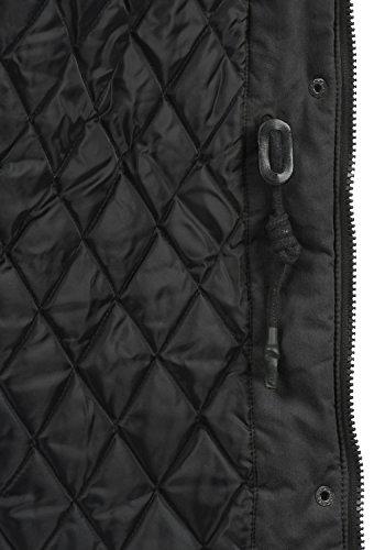 DESIRES Lotta Damen Parka lange Jacke Winter-Mantel mit Kapuze und Teddy-Futter aus hochwertiger Baumwollmischung Black (9000)