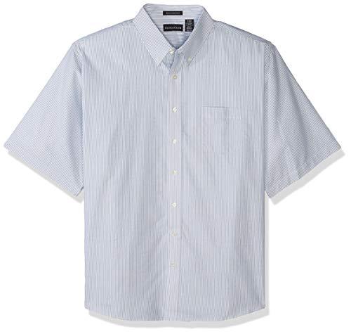 UltraClubs ULTC-8972 Herren Oxford, klassisch, knitterfrei, kurzärmlig, Blau/Weiß, Größe XXL - Klassisches Oxford-hemd Knitterfrei