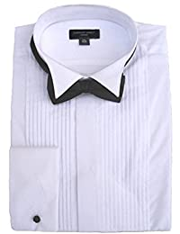 Clermont Direct 100% Cotton Pleated Wing Collar Dress Shirt
