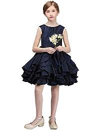 0c05aa92f CJJC Azul Oscuro Vestidos de satén para la niña de Las Flores de Color Puro  sin Mangas con Volantes Vestido Corto Traje…