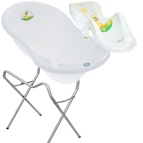 LUX BABY BADESET ENTE Große Babybadewanne 102cm + Badesitz + Ständer - Weiß