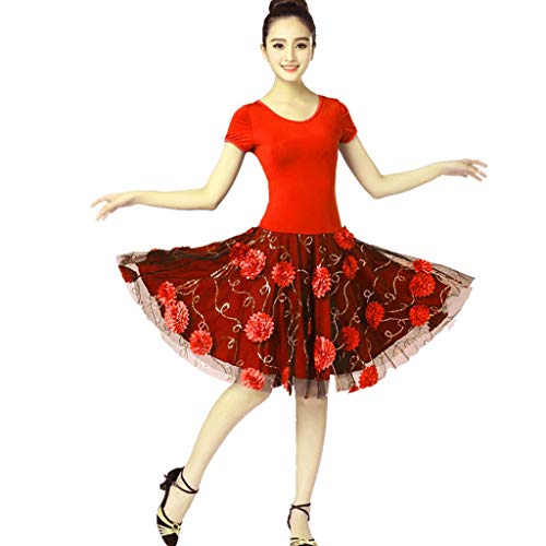 CX Latin Dance Kurzarm Kleid Tanz Rock Moderne Square Dance Kostüm Dancewear (Color : Red, Size : - Modern Dance Kleid Kostüm