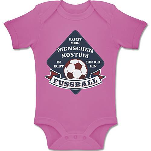 Shirtracer Karneval und Fasching Baby - Das ist Mein Menschen Kostüm in echt Bin ich EIN Fussball - 1-3 Monate - Pink - BZ10 - Baby Body Kurzarm Jungen Mädchen (Baby Rosa Fußball Kostüm)
